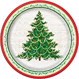 "10.25"" Classic Christmas Tree Dinner Paper Plates, 8ct"