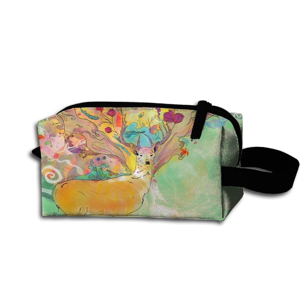 Makeup Cosmetic Bag Art Deer Animals Zip Travel Portable Storage Pouch For Men Women