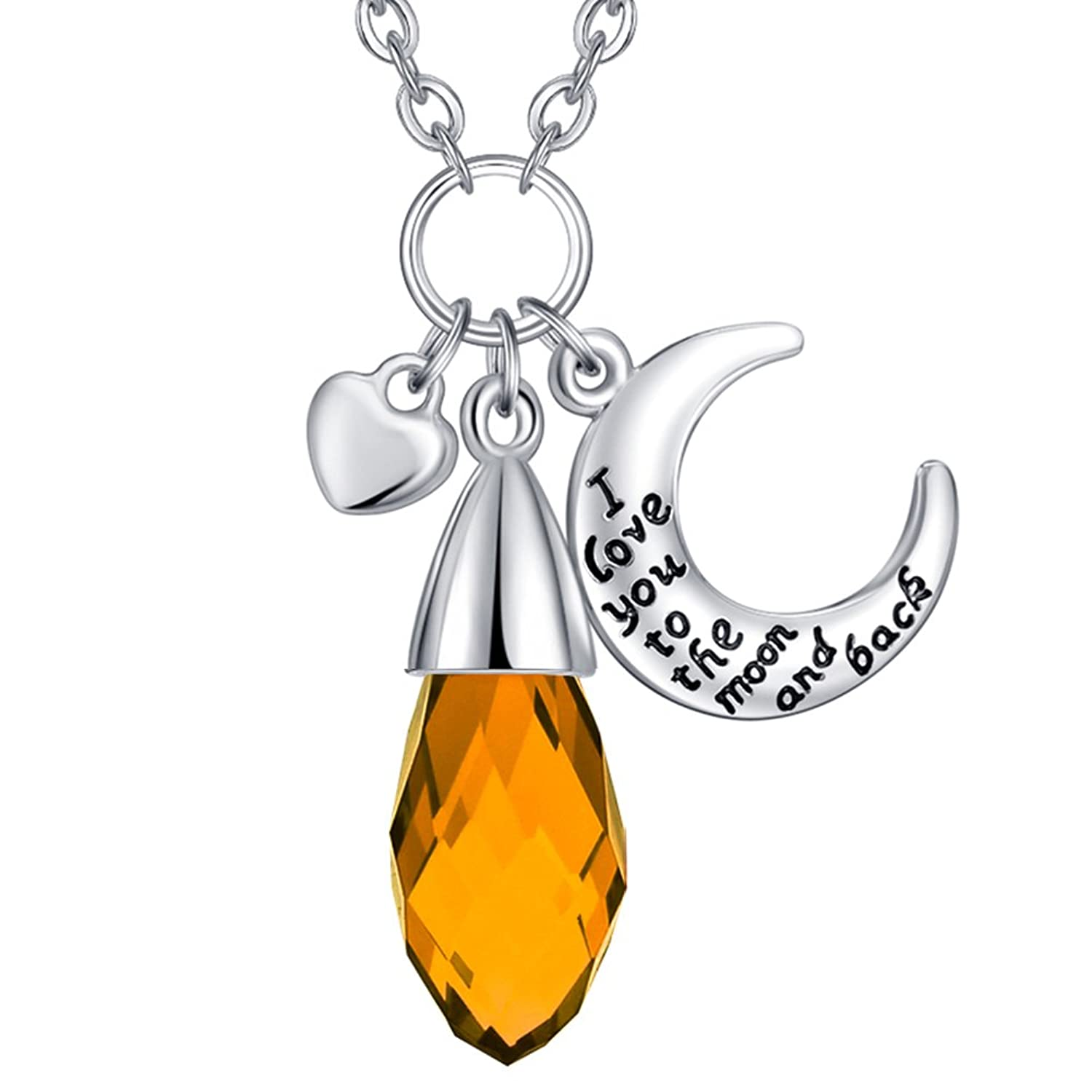 """""""I Love You To The Moon and Back"""" 12 Months Artificial Birthstone Necklace - Valentine's Day Gifts"""