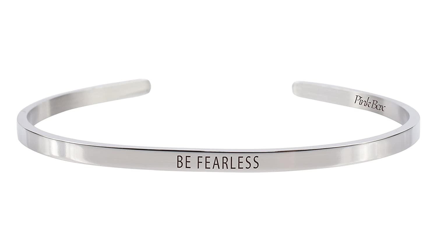 Pink Box 3mm Solid Stainless Steel Cuff Bracelet Be Fearless