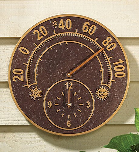 Whitehall Products Solstice Thermometer Clock, French Bronze by Whitehall by Whitehall