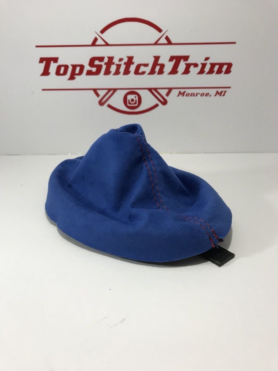 For 03-05 Dodge Neon SRT-4 Shift Boot Blue Suede Red Stitch