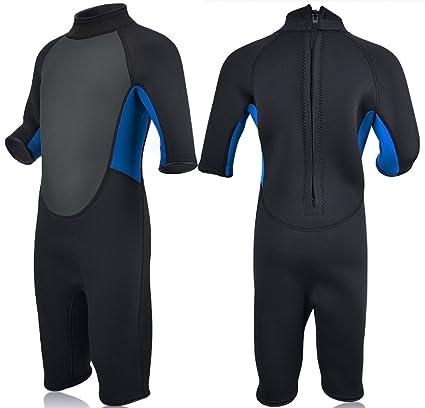6f9d5bd310 Realon Kids Wetsuit Shorty Full 3mm Premium Neoprene Lycra Swimsuit Toddler  Baby Children and Girls Boys Youth Swim Surfing Snorkel Dive Snorkel Back  Zip ...