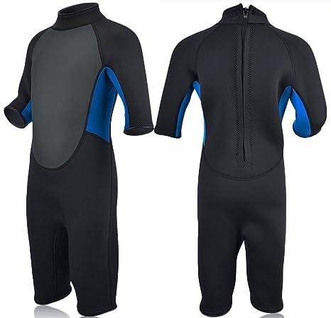 f282e3a644 Realon Kids Wetsuit Shorty Full 3mm Premium Neoprene Lycra Swimsuit Toddler  Baby Children and Girls Boys Youth Swim Surfing Snorkel Dive Snorkel Back  ...