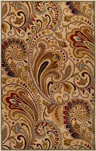 Surya Aurora AUR-1008 Classic Hand Tufted 100% Wool Parchment 5' x 8' Paisleys and Damasks Area Rug