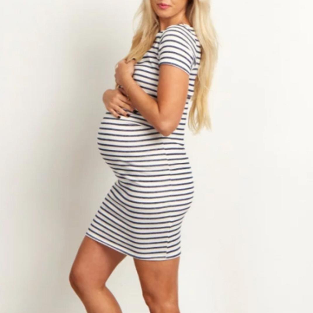 Gusspower Vestido Para Mujer, Mujeres embarazadas moda de rayas de manga corta vestido de maternidad de enfermeria Regalo del día de la madre Falda: ...