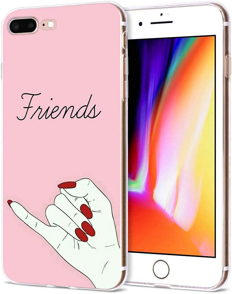 Amazon Com Iphone 7 Plus Iphone 8 Plus Silicone Matching Cases Best Friends Forever Bff Pink Fingers Together Case Cover Women Girls Soft Tpu Clear Phone Bumper Skin Iphone 8 Plus Best Friends Right
