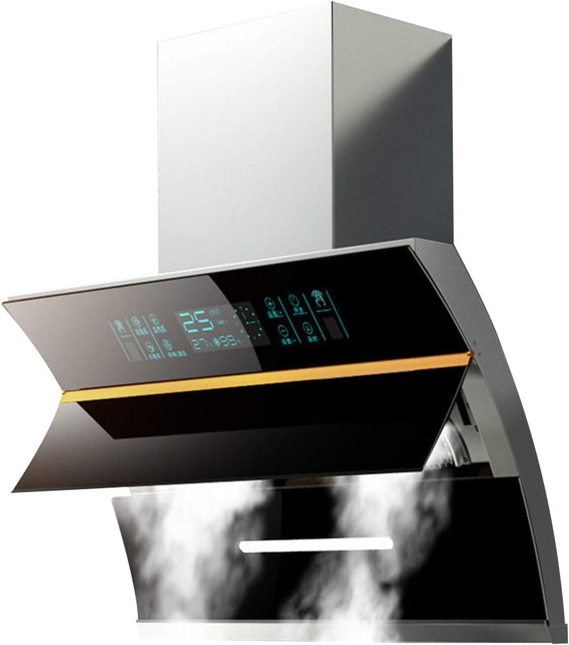 SXYY Campana Extractora Decorativa, 25m³ / Min Negra Campana Extractora De 90 Cm para Cocinas Domésticas, Tapa De Apertura Automática para Fumar 58 Decibelios Bajos, Limpieza Automática con Una Tecla