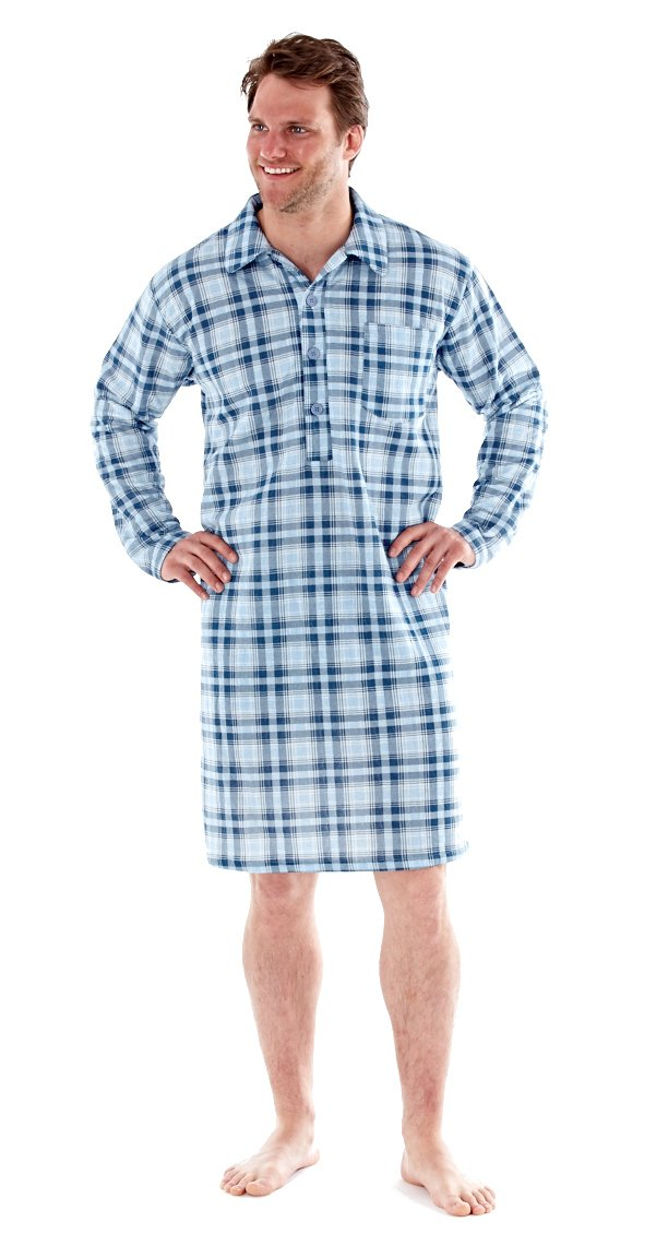 Men's Traditional Style Checked Nightshirt (Medium, Blue Check)