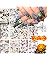 Kalolary 12 Sheets Halloween Nail Art Stickers Decals, DIY Self-adhesive Nail Sticker Decals Nail Art Tips Stencil Nail Decorations for Halloween Party, Include Pumpkin/Bat/Ghost/Witch etc(12 Sheets)