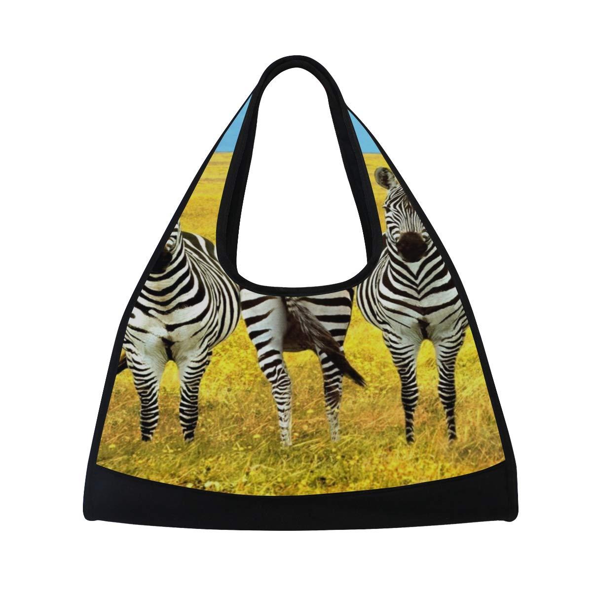 HUVATT ヨガバッグ Zebras Love メンズ キャンプ ダッフルバッグ クロスボディ ショルダー ジム トラベルバッグ 20 x 18.5 x 6.7 inch パターン2 B07HQCXP6K