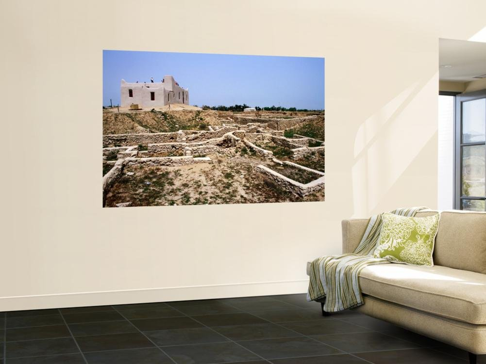 Mud House Near Excavations of Bronze Age Settlement Tel Sa'Ad Wall Mural by Mark Daffey 48 x 72in by LONELY PLANET