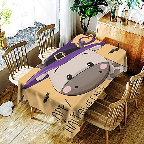 AGONIU Resistant Table Cover,Halloween Illustration of Cartoon Giraffe,Resistant/Spill-Proof/Waterproof
