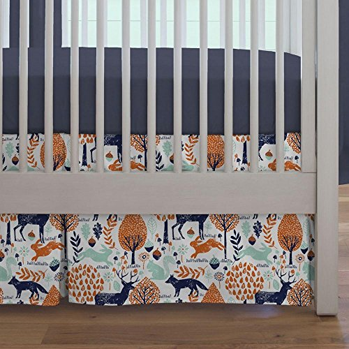 Carousel Designs Navy and Orange Woodland Animals Crib Skirt Box Pleat 14-Inch Length by Carousel Designs