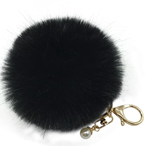 63fe4a9451 Amiley Fluffy Faux Rabbit Fur Ball Charm Pom Pom Car Keychain Handbag Key  Ring (Black