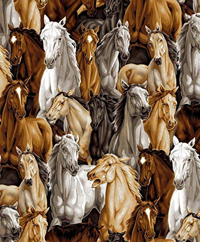 Horse Stampede Cotton Fabric by The - Horse Quilt Fabric