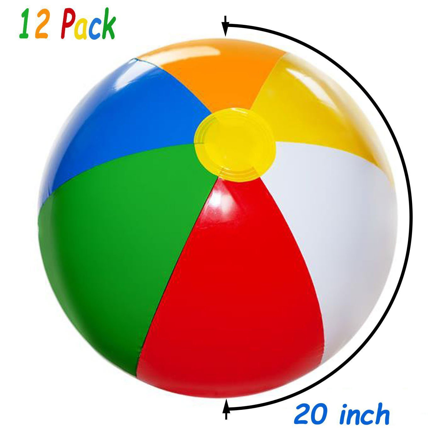 4E's Novelty Inflatable Beach Balls Pack of 12 Bulk Large 20-inch, Summer Beach & Pool Party Supplies, Beach Ball for Kids Toddlers Boys Girls by 4E's Novelty