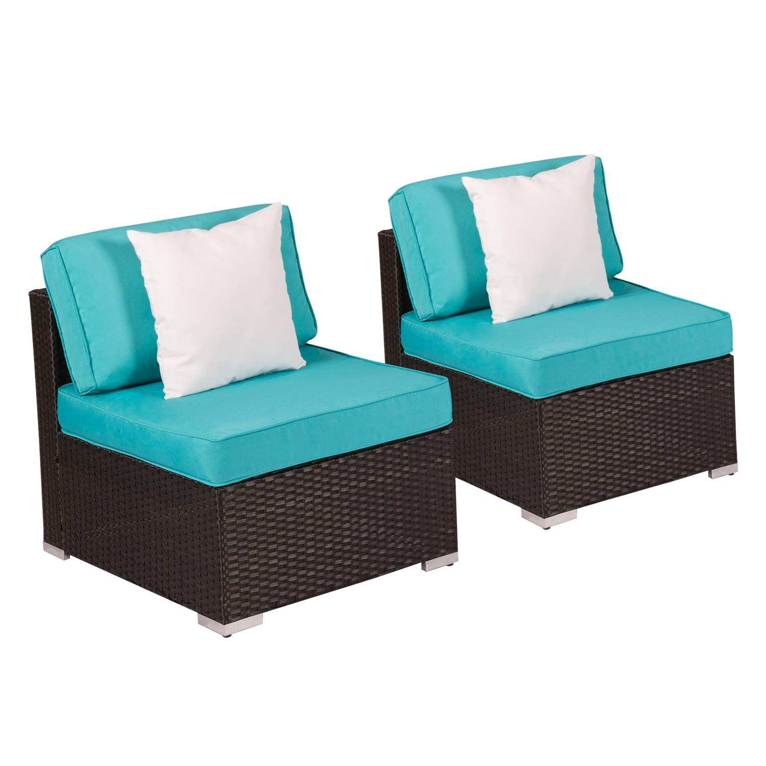 Kinbor 2 Piece Patio Backyard Furniture Sets All-Weather Rattan Sectional Sofa with Washable Couch Cushions (Loveseats Turquoise)