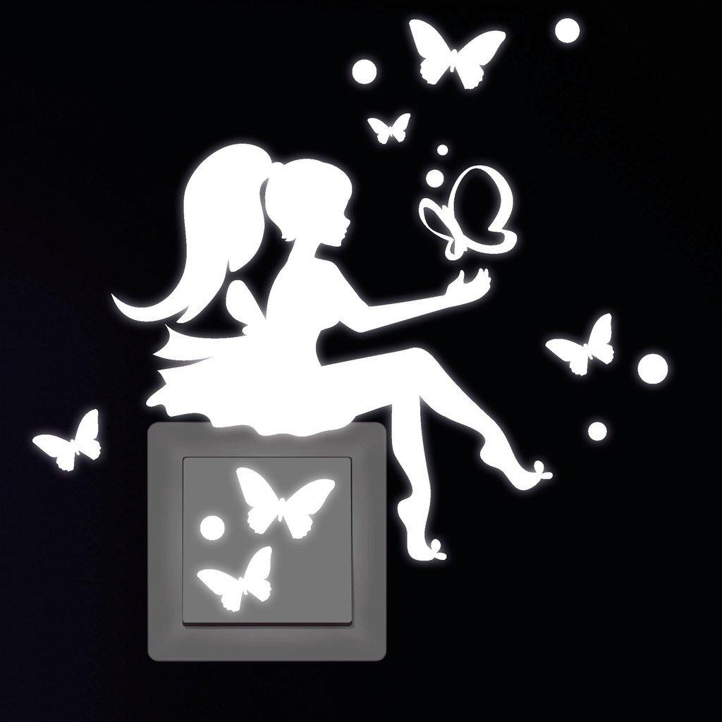 """Fluoreszierend und im Dunkeln leuchtend Wandtattoo Loft Leuchtaufkleber /""""Kleines Feenm/ädchen mit Schmetterlinge/"""" f/ür Lichtschalter oder Steckdose"""