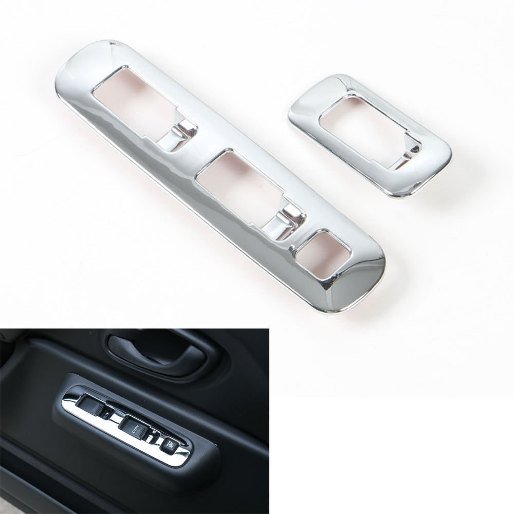 UltaPlay For Suzuki Jimny Car-Styling Door Window Adjust Switch Cover Trim Interior ABS Chrome Decor Stickers Car Accessories 2007-2015 [Silver]