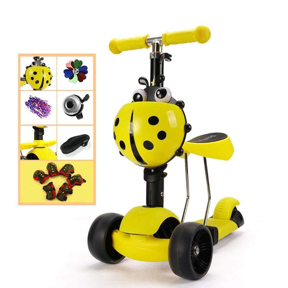 CMXIA Bambino Scooter Bambini Twist Car Beginner Boy Girl a Tre Ruote Flash Scooter 4 File Altezza Regolabile ( Colore   giallo )