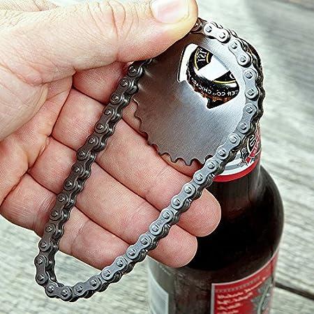 Abridor de botellas para cadena de bicicleta portátil, sacacorchos de piñón de apertura, botella, acero inoxidable