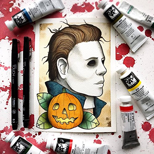 Horror Halloween Tattoo Flash Pumpkin Watercolor Print by Michelle Coffee -