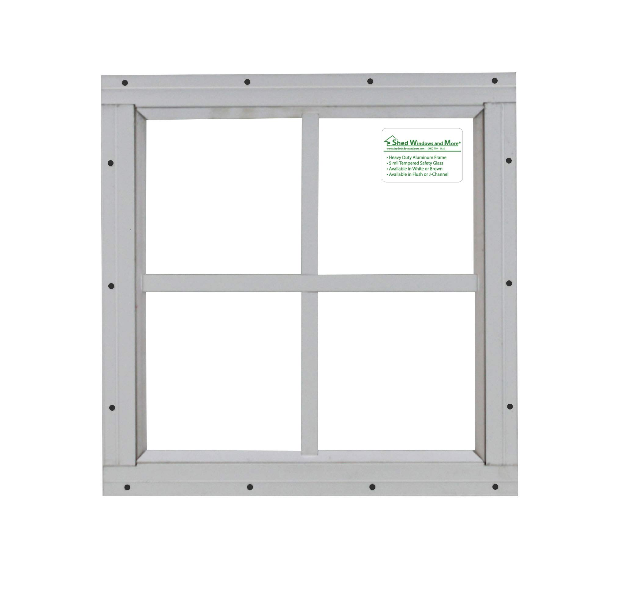Shed Windows 12'' x 12'' White Flush Mount Safety Glass