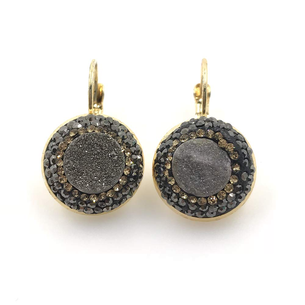 Xinrui Rhinstone Paved Gemstone Earring Druzy Dangle Earrings