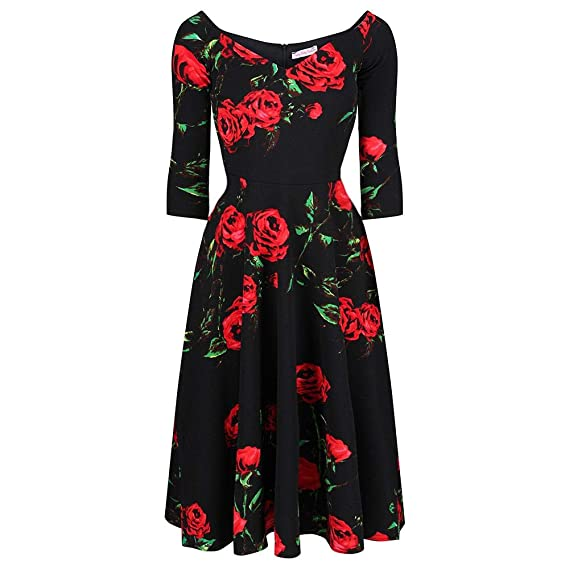71f90d6c5d9a Pretty Kitty Fashion Vintage 1950s Rockabilly Black and Red Rose 3/4 Sleeve  Swing Dress: Amazon.co.uk: Clothing