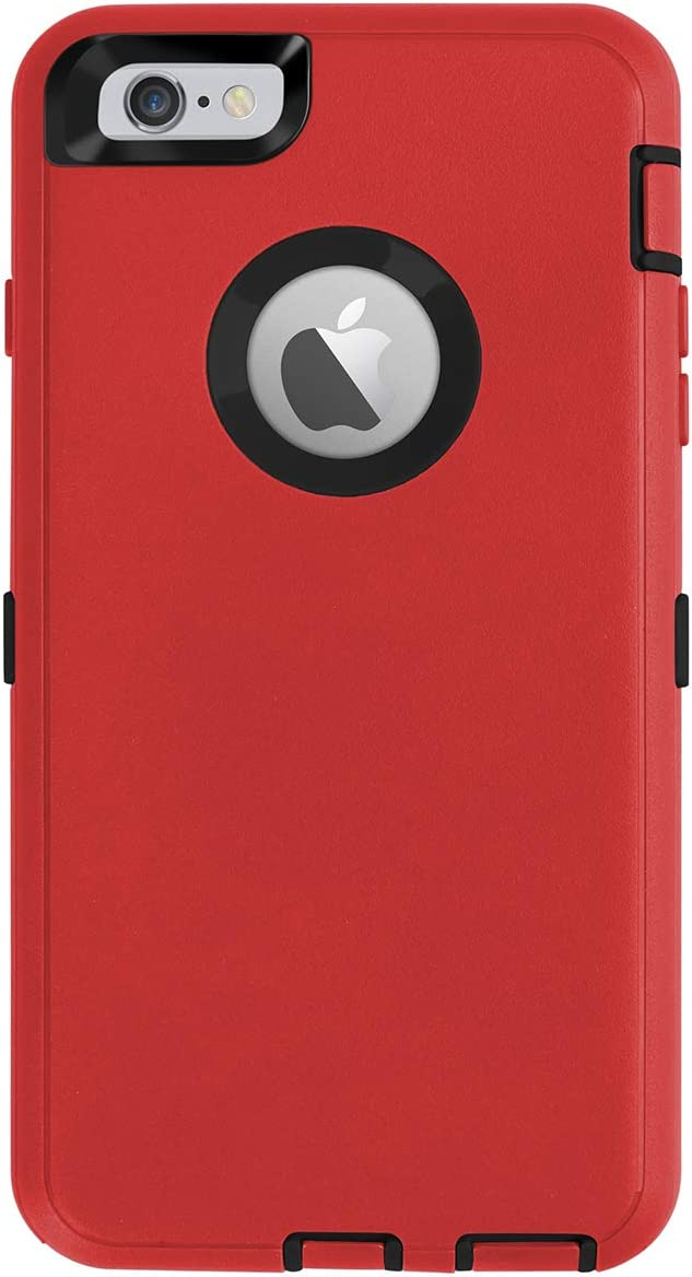 AICase iPhone 6 Plus Case,iPhone 6S Plus Case [Heavy Duty] Built-in Screen Protector Tough 4 in 1 Rugged Shockproof Cover for Apple iPhone 6 Plus / 6S Plus (Black/Red)