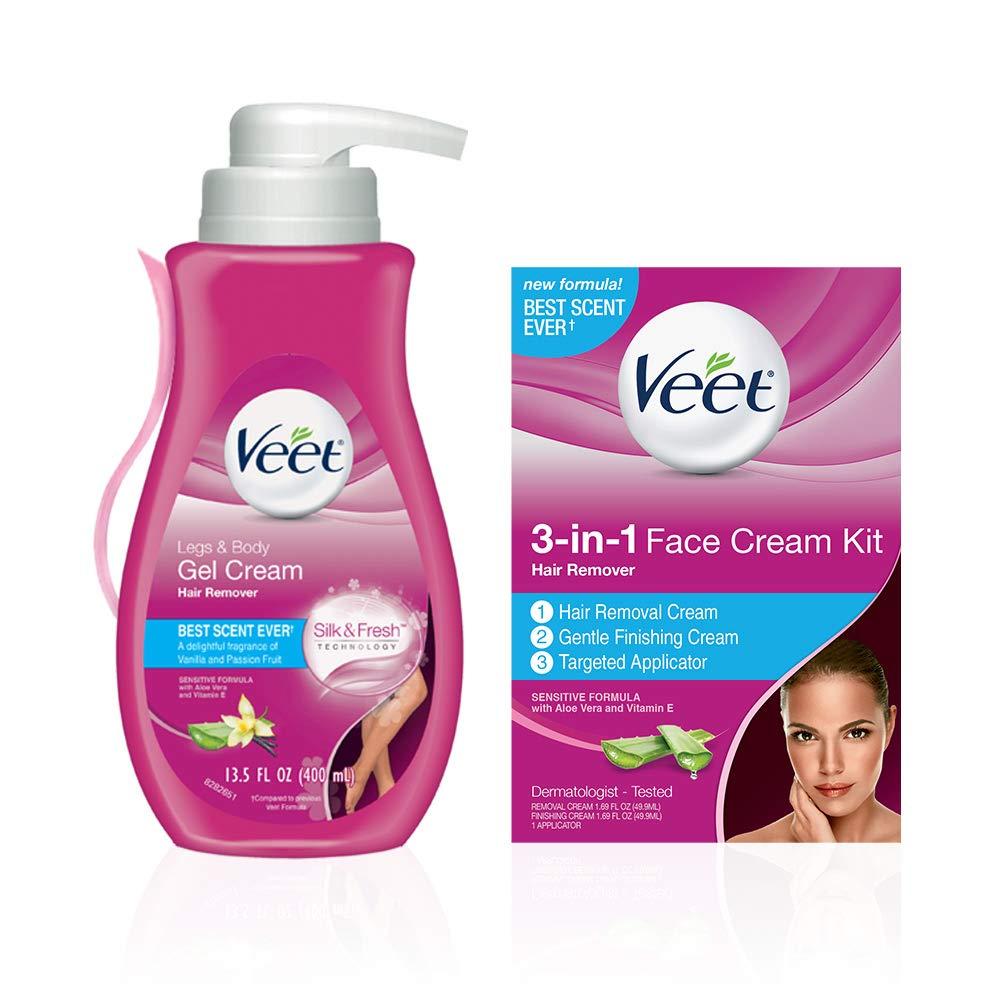 Veet Leg & Body Gel Cream Hair Remover (13.5 oz.) & 3-in-1 Face Cream Hair Remover Kit (2 x 1.69 oz.) Sensitive Formulas With Aloe Vera & Vitamin E