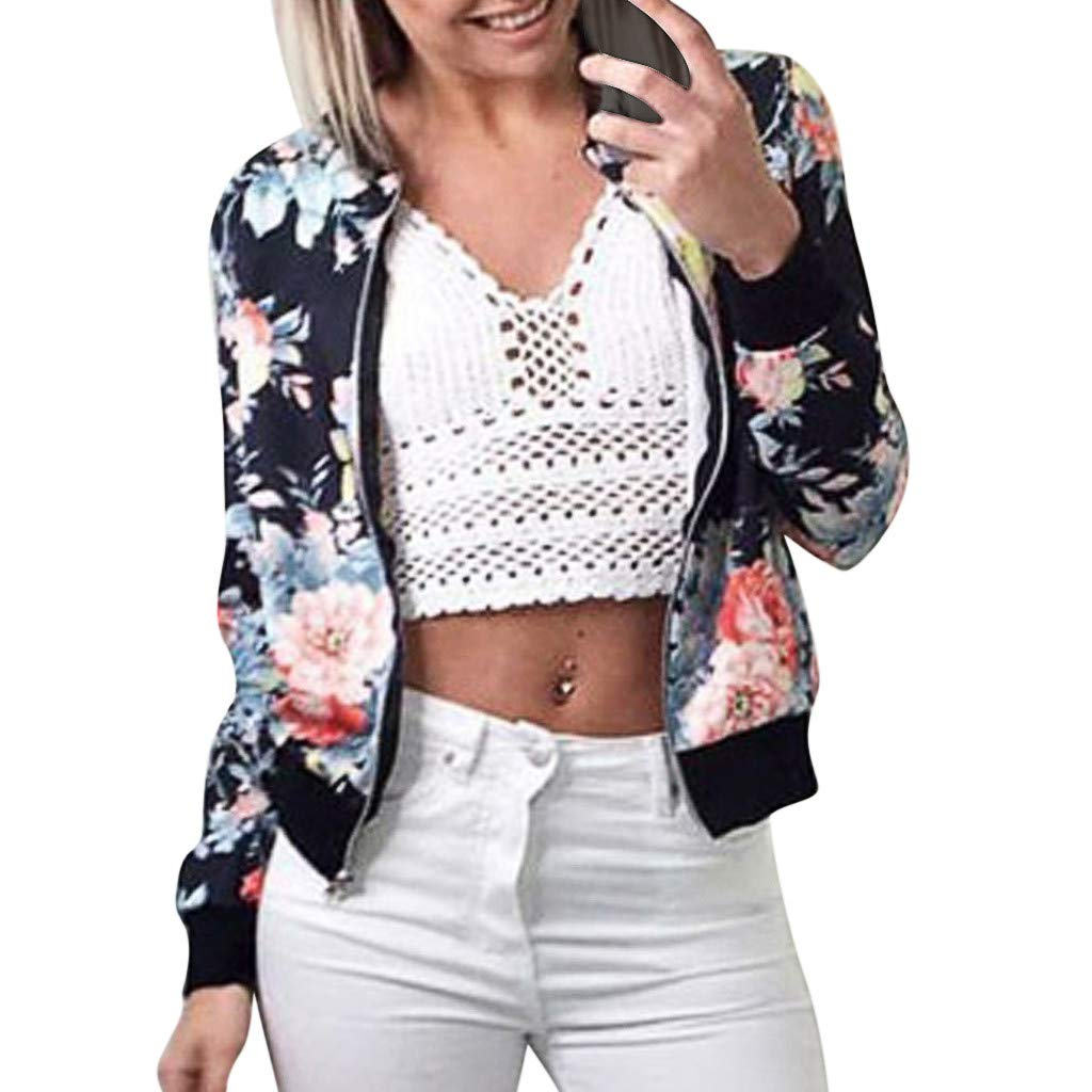 Women's Stand Collar Zip Up Floral Print Classic Baseball Bomber Jacket Long Sleeve Casual Chic Coat Streetwear (Navy, XXL) by Jieou