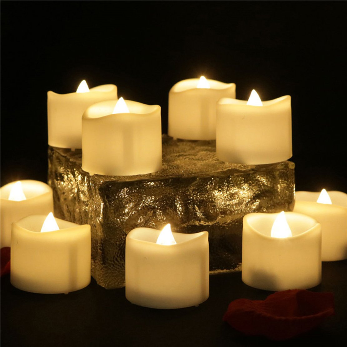 200 Hours Led Mini Tea Light with Timer (6 Hrs On 18 Hrs Off) Flameless Warm White Flickering Fake Votive Candle Wavy Open Rustic Long Lasting Electric Timed Tealights Party Home Wedding Decor 96 PCS by Beauty Collector (Image #6)