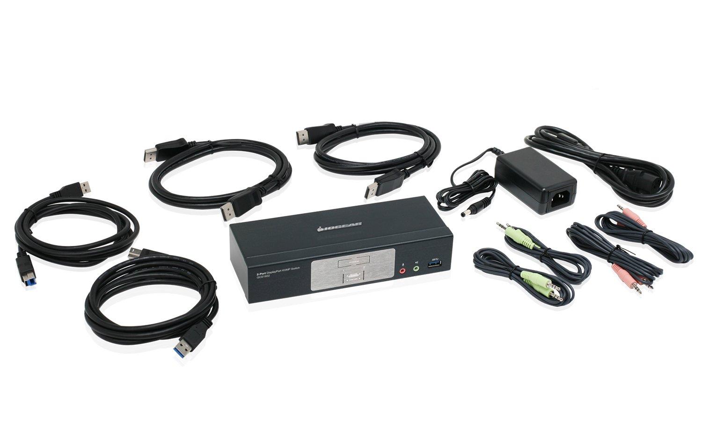 IOGEAR 2-Port DisplayPort 1.2 KVMP Switch with USB 3.1 Gen1 Hub and Audio (TAA Compliant) GCS1932