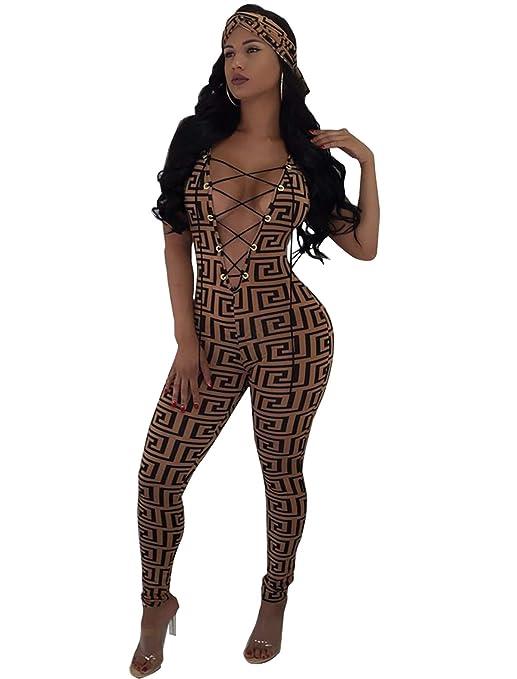 307f8579f04c Amazon.com  Katblink Women s Sexy Jumpsuit Romper - Sleeveless Deep V Neck  Lace Up Bodycon Pants Set  Clothing