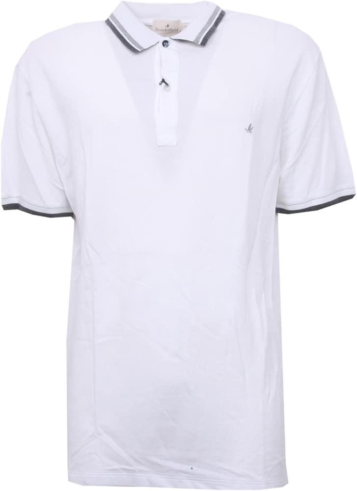 B3528 polo uomo BROOKSFIELD maglia manica corta bianco t-shirt man ...