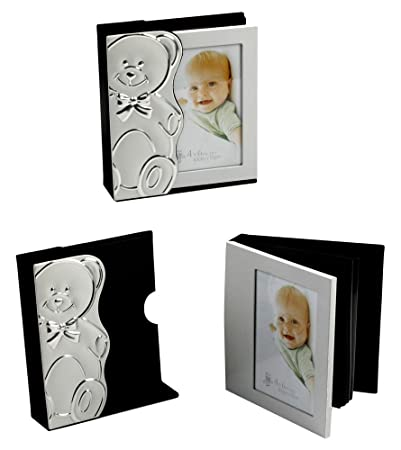 Amazoncom Silver Plated Baby Photo Album With Bear Case By Haysom