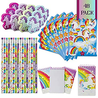 Favinor™ Unicorn Stationary Party Souvenirs Favors 48 Gift Pack – 12 Erasers – 12 Themed Booklets – 12 Pencils – 12 Stickers - Kids Birthday Party Supplies Bulk Set - Ideal As Party Favor, Reward Prizes, carnival And Events: