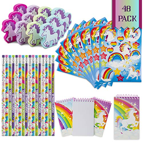 FavinorTM Unicorn Stationary Party Souvenirs Favors 48 Gift Pack - 12 Erasers - 12 Themed Booklets - 12 Pencils - 12 Stickers - Kids Birthday Party Supplies Bulk Set - Ideal As Party Favor, Reward Prizes, carnival And Events