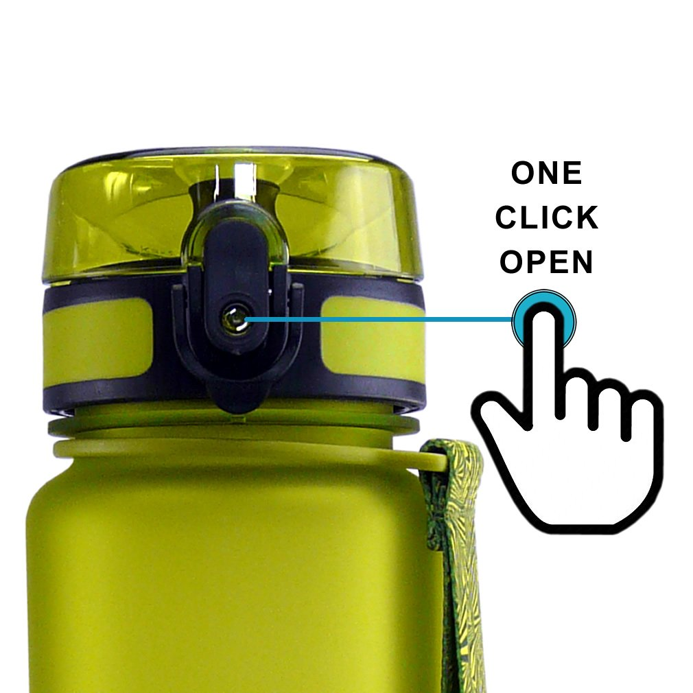 SMARDY Tritan Botella de Agua para Beber Vert - 350ml - de plástico sin BPA - Tapa de un Clic - fácil de Abrir - ecológica - Reutilizable: Amazon.es: Jardín