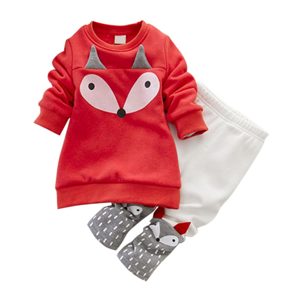 Loveble 2pcs Baby Girls Fall/Autumn/Winter Clothing Set Long Sleeve Fox Printed Fleece Top + Pants Trousers Leggings Outfit(Red+White) for 1-4 Years