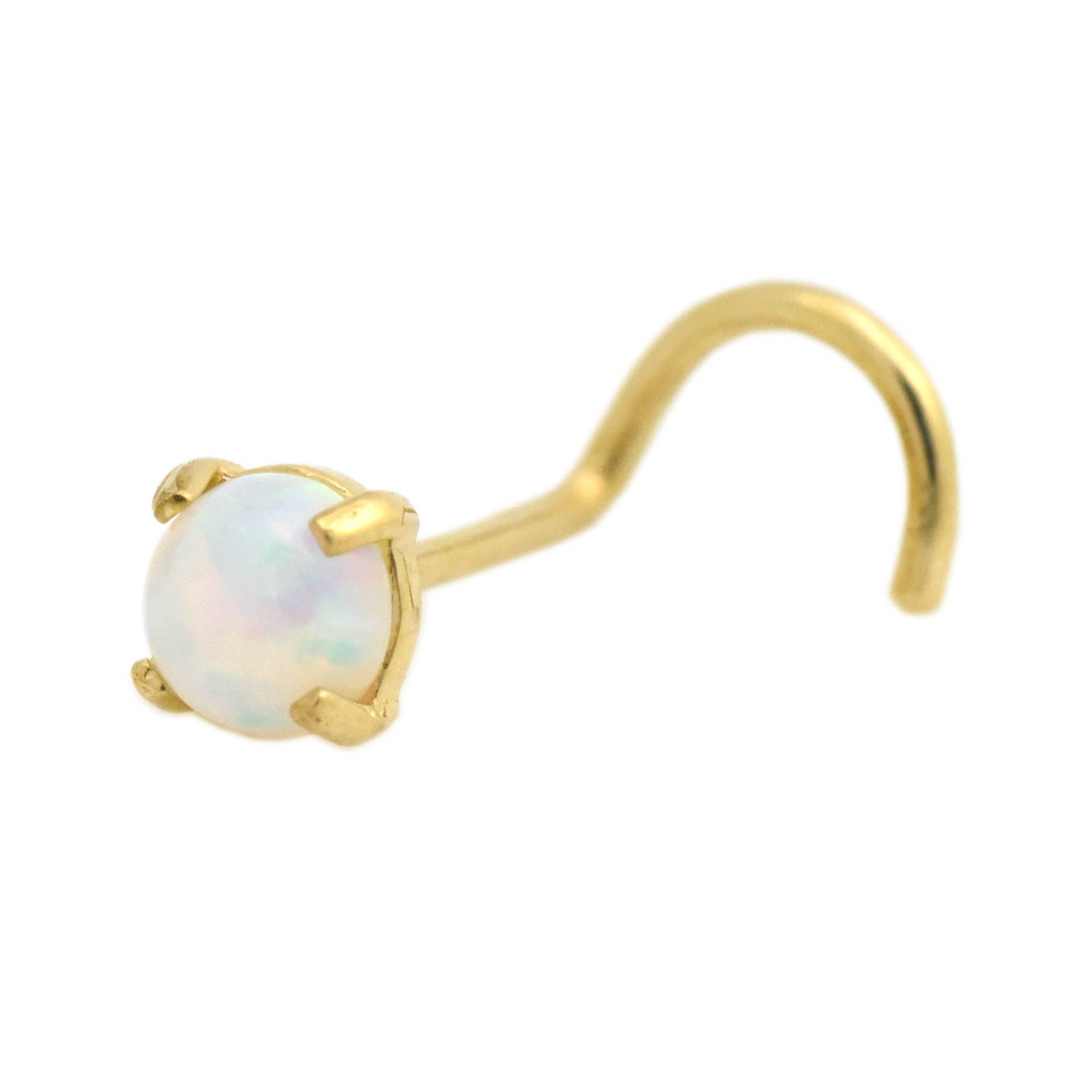Trendy Earrings by WSI 14k Gold Nose Screw Piercing Stud 3.5mm Lab Created Opal 20 Gauge Jewelry