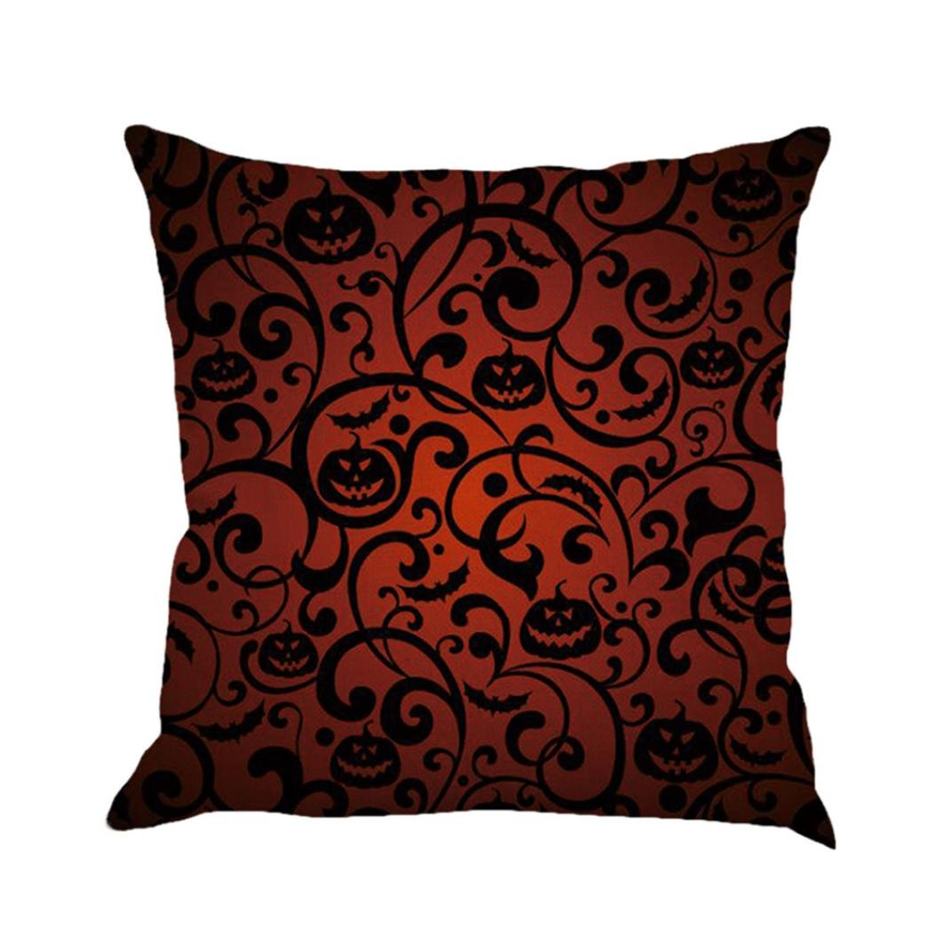 Cushion Cover, Manadlian 2017 New Soft Halloween Home Sofa Decor Square Print Pillow Cases Linen Waist Cushion Cover 45*45cm (45*45cm, Multicolor 1)