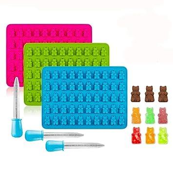 Moldes de silicona sin BPA para cubitos de hielo, moldes de gelatina, moldes de chocolate, moldes de jabón, 3 unidades: Amazon.es: Hogar