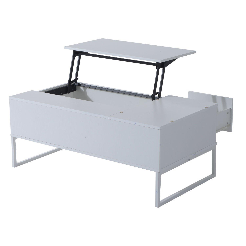 Amazon.com: HOMCOM Moderna Mesa de Café Elevable: Kitchen ...