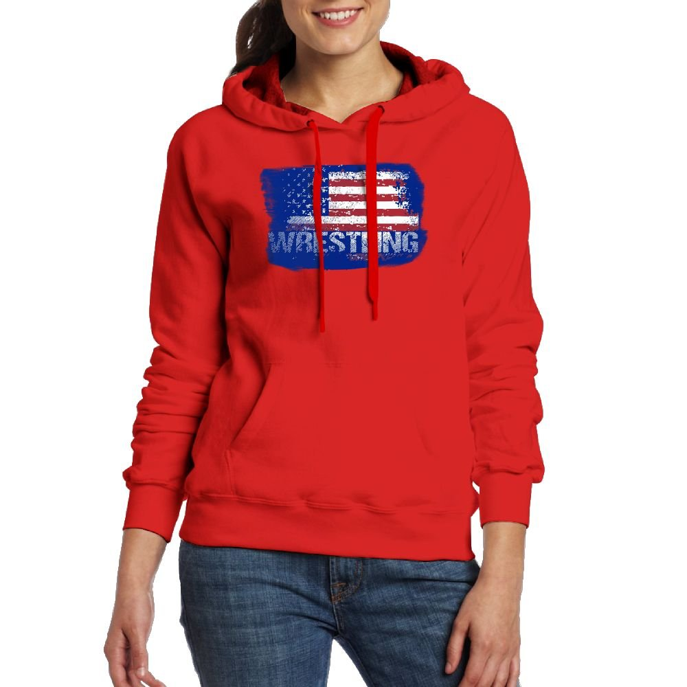 Wrestling American Flag Casual Women Hoodies Long Sleeve Drawstring Sweatshirt L