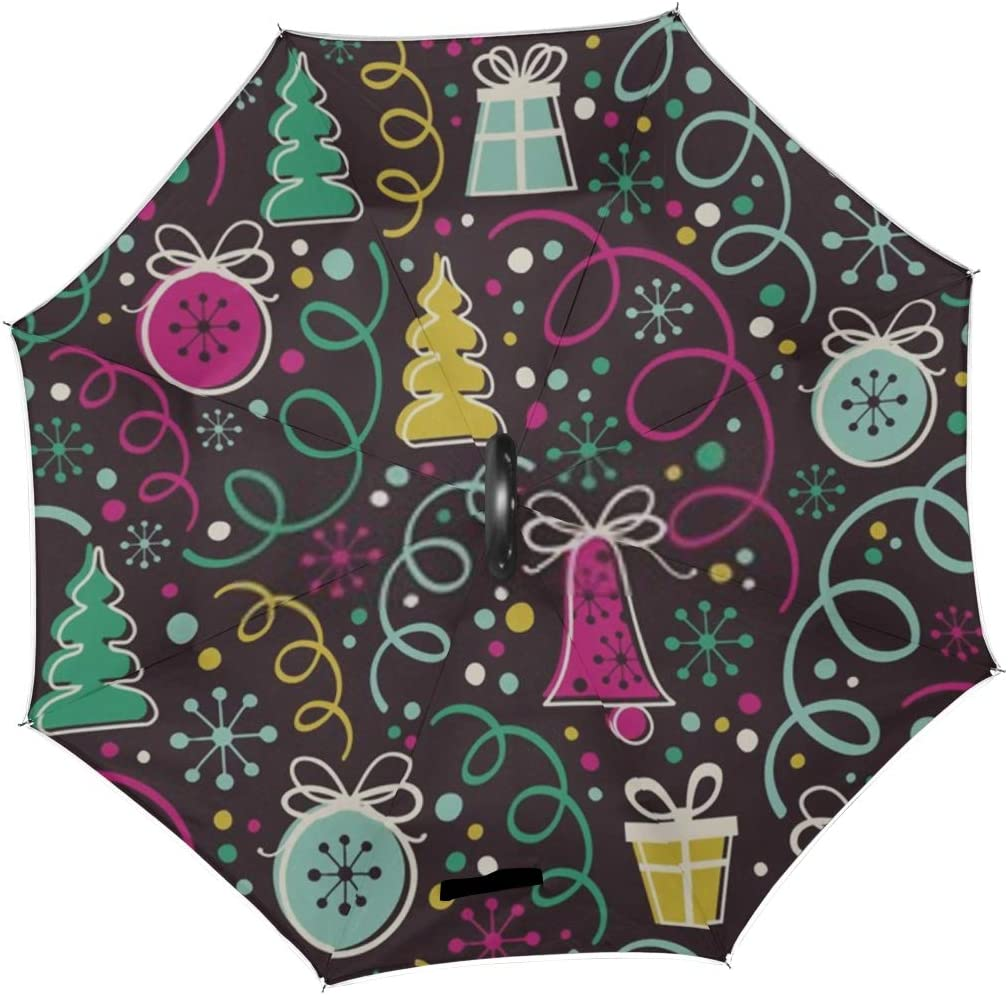 Double Layer Inverted Inverted Umbrella Is Light And Sturdy Christmas Seamless Pattern On Dark Background Reverse Umbrella And Windproof Umbrella Edg