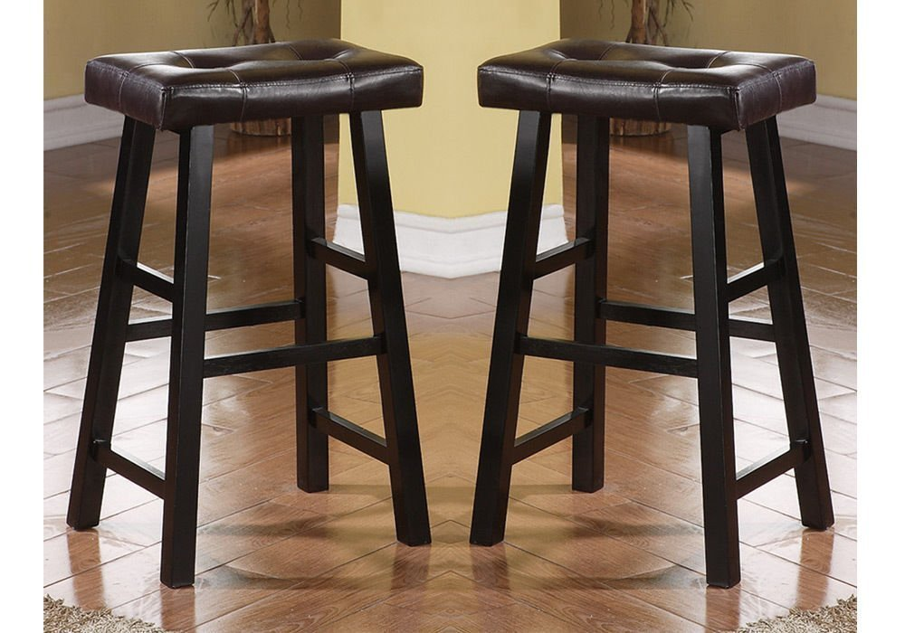 Bobkona Drake Set of 2, Country Series Bar Stool - 29'' H - in Espresso Finish with Faux Leather