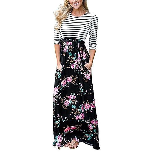 Bcdshop Women Maxi Dress Long Sleeve Casual Floral Striped Pocket